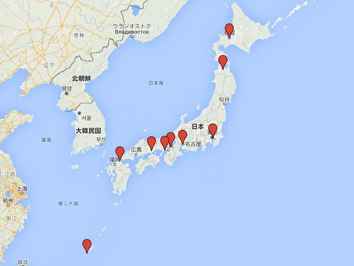 本田ヒルズタワークリニック全国地図