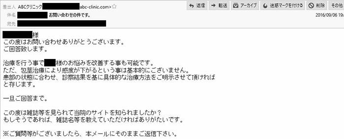 abcクリニック回答メール