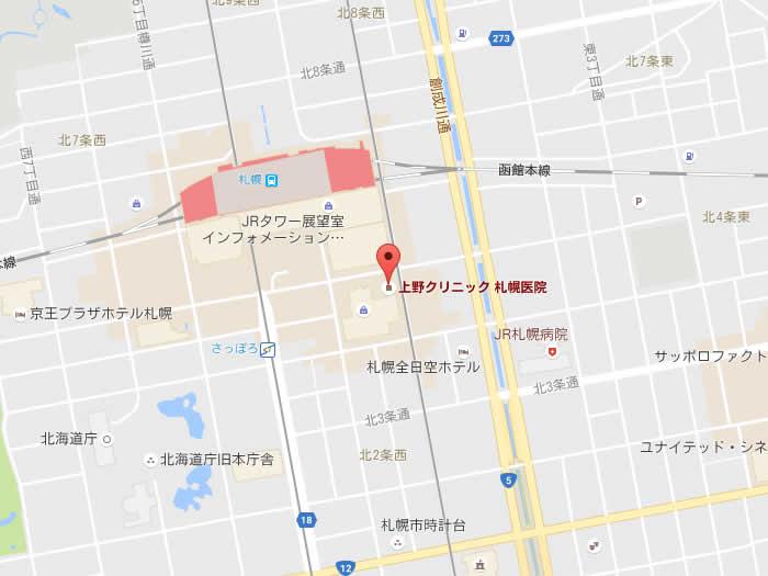 上野クリニック札幌院地図