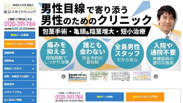 東京スカイクリニック公式サイトのキャプチャ画像